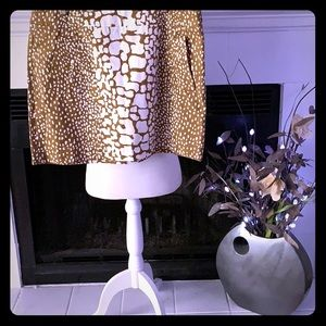 J Crew Gold/White Giraffe Print Skirt.